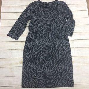 Talbots Zebra print dress faux leather detail